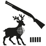 Shotgun and aim on a deer black silhouette Stock Image