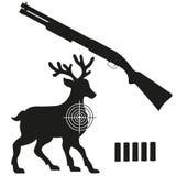 Shotgun and aim on a deer black silhouette Stock Image
