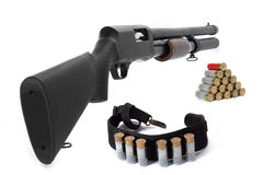 Shotgun and ammunition Stock Images