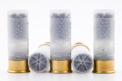 Shotgun ammunition. Hunting ammunition isolated on white background Royalty Free Stock Photos