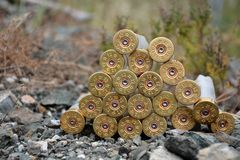 Shotgun Bullets. Empty Shotgun Bullets on the ground Stock Photo