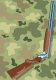 Shotgun on camouflage Stock Photography