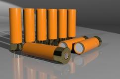 Shotgun cartridge. 3d render - firearm ammunition. sports, hunting, security royalty free illustration
