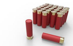 Shotgun cartridges isolated over white. Hunting cartridges. Shotgun cartridges isolated over white. red cartridge with charge. Hunting cartridges. Cartridges royalty free illustration