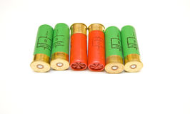 Shotgun cartridges on white background Royalty Free Stock Photos
