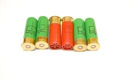 Shotgun cartridges on white background Royalty Free Stock Photos