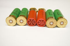 Shotgun cartridges on white background Royalty Free Stock Images