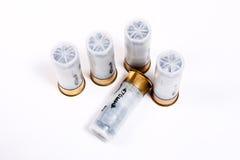 Shotgun cartridges on white background. Stock Image