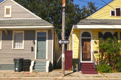 Shotgun Double Houses. Typical shotgun style homes in the Irish Channel of New Orleans, Louisiana Stock Photo