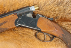 Shotgun on fur Stock Image