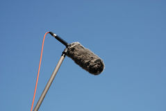 Shotgun Microphone with Wind Protector Stock Photo