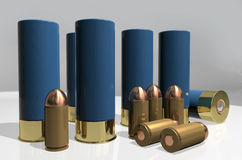 Shotgun and pistol cartridges Stock Image