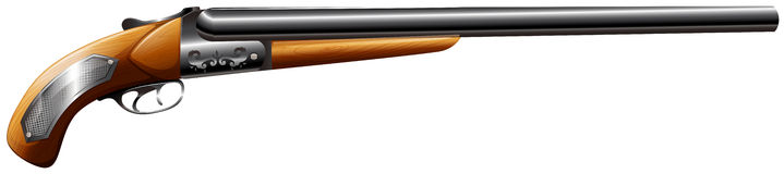 Shotgun rifle with wooden trigger Stock Photo
