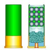 Shotgun shell illustration. Illustration of the shotgun shell charge vector illustration