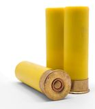 Shotgun Shells. Yellow Shotgun Shells on White Background Royalty Free Stock Photography