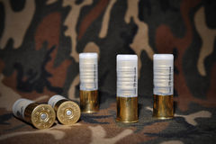 Shotgun shells. Used for hunting, layed on a camouflage background Stock Photo