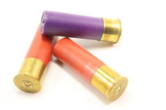 Shotgun Shells. Isolated on a white background Royalty Free Stock Photo