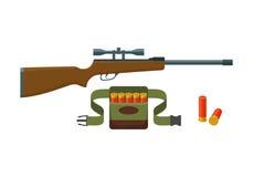 Shotgun, shells and bandoliers. With shells vector illustration royalty free illustration