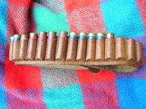 Shotgun shells in a belt Royalty Free Stock Image