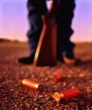 Shotgun shells and gun Stock Photo