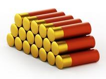 Shotgun shells isolated on white background. 3D illustration.  stock illustration