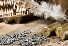 Shotgun shells and shot Royalty Free Stock Images