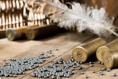 Shotgun shells and shot Royalty Free Stock Images