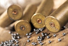 Shotgun shells and shot Royalty Free Stock Photography