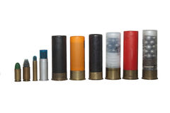 shotgun shells, various types and caliber Royalty Free Stock Photos