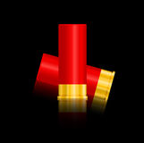 Shotgun shells vector illustration  on black background. Royalty Free Stock Image