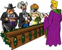 Shotgun Wedding. Man holding a shotgun to groom's back Stock Illustration