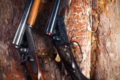 Shotgun on wooden background Royalty Free Stock Photography