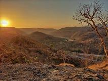 Shotonphone do nascer do sol das luzes da manhã fotografia de stock