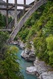 Shotover River New Zealand. Bridge crossing the shotover river Stock Photo