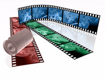 Shots. 3d film rolls and cassette with colour pictures (communication Stock Photo
