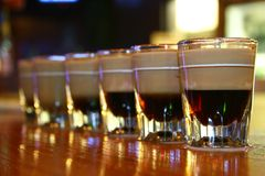 Shots. Lined up shots on the bar royalty free stock image
