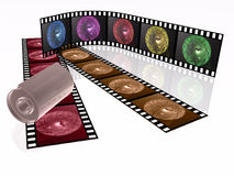 Shots. 3d film rolls and cassette with colour pictures (communication Stock Images