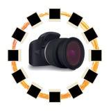 Shots around digital camera. Over white vector illustration Royalty Free Stock Image
