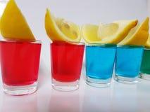 Shots blueshots greenshots whitebackground lemon. Alcohol mixeddrink mixing mix beverage cocktail mixeddrink Stock Photo