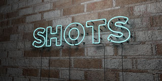 SHOTS - Glowing Neon Sign on stonework wall - 3D rendered royalty free stock illustration Stock Images