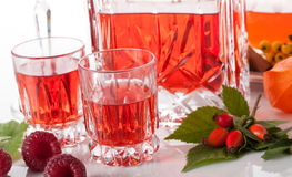 Shots with raspberry liqueur Royalty Free Stock Photos