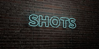 SHOTS -Realistic Neon Sign on Brick Wall background - 3D rendered royalty free stock image Royalty Free Stock Images