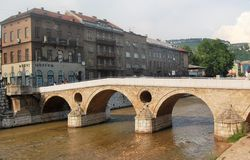 The shots in Sarajevo. On this bridge,the first world war was started Stock Photos