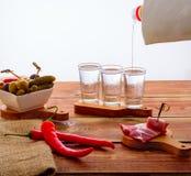 Shots of vodka Stock Photo