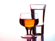 Shots of vodka and whiskey in club Royalty Free Stock Photos