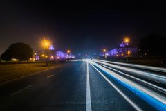 One Sided Light Trails, Raj Path royalty free stock photo