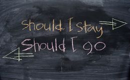 Should I stay or Should I go written with color chalk concept on the blackboard stock photos