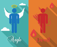 Shoulder angel and devil long shadow flat. Vector symbols Royalty Free Stock Photography