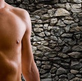 Shoulder and arm naked male body. (an athlete Stock Photos