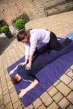 Shoulder blade massage royalty free stock photography